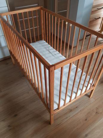 Łóżeczko dziecięce drewniane z materacem 120x60