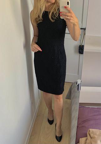 Burberry czarna koronkowa sukienka princeska 38