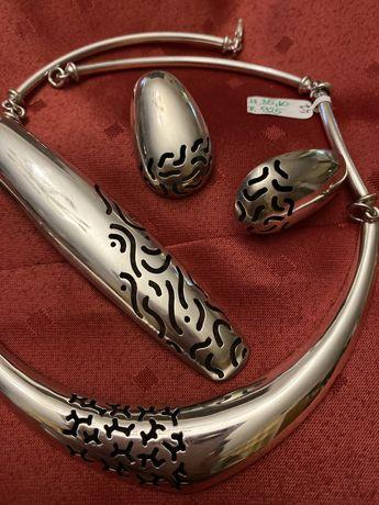 Duży zestaw srebrny warmet  srebro sygn. 925 duży naszyjnik kolczy