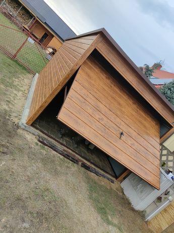 Garaż blaszany 3x5 drewnopochodny