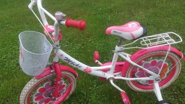 sprzedam bardzo fajny rowerek dla dziewczynki 16cala z kółeczkami bocz
