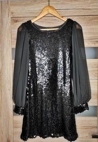 Sukienka mini długi rękaw czarne cekiny S USCO