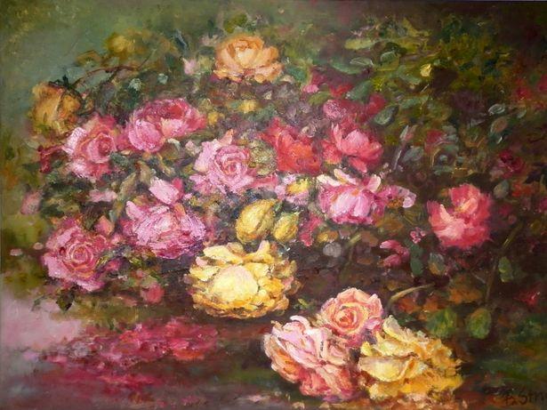 ''Krzew róży '' -obraz olejny 80/60