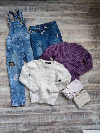 Пакет одежды 110-116 см, 5-6 лет джинсы, свитер, комбинезон джинсовый