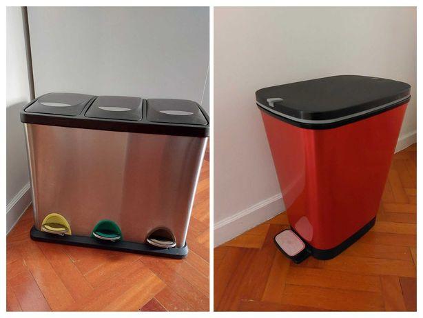 Balde/Caixote para reciclagem 3 em 1 e Balde Lixo 30L com pedal