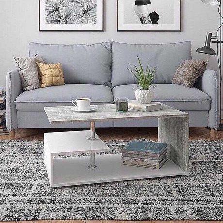 Стол журнальный  кофейный столик в гостинную с полкой на ножках
