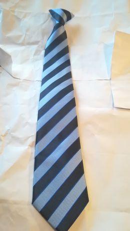 Elegancki Krawat ochrona, na spinkę, granatowy, nowy