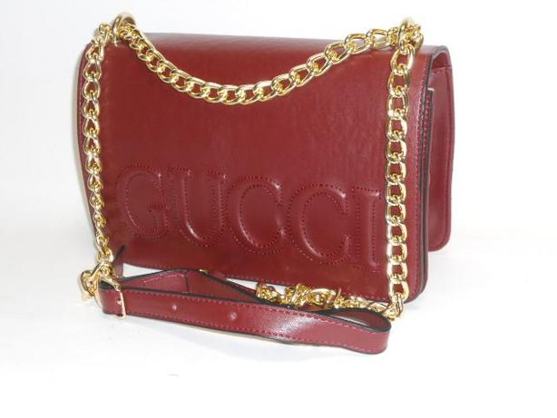 Bordowa elegancka torebka listonoszka Gucci łańcuszek