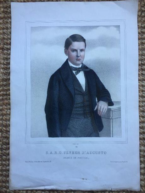 Retrato Principe D. Afonso - Litografia colorida antiga