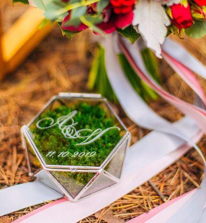 Шкатулка стеклянная скринька скляна для обручальных колец свадебная