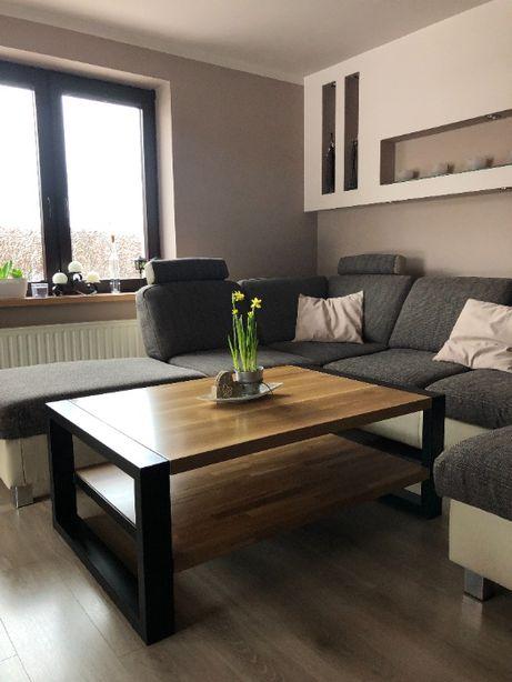 Stolik kawowy 110x60 blat dębowy loft drewno metal nowoczesny salon