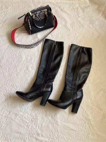 Сапоги кожа черные mascotte 40 размер 26 стелька кожаные демисезон
