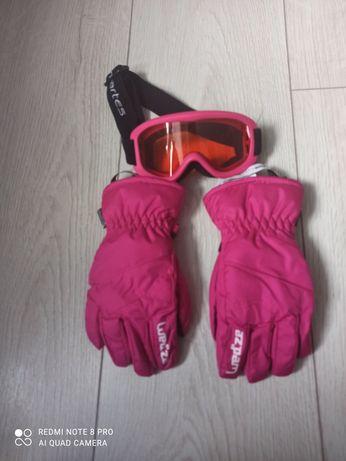 Rękawice narciarskie, gogle narciarskie 3-4 lata zestaw