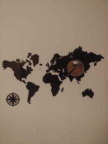 zegar ścienny mapa świata
