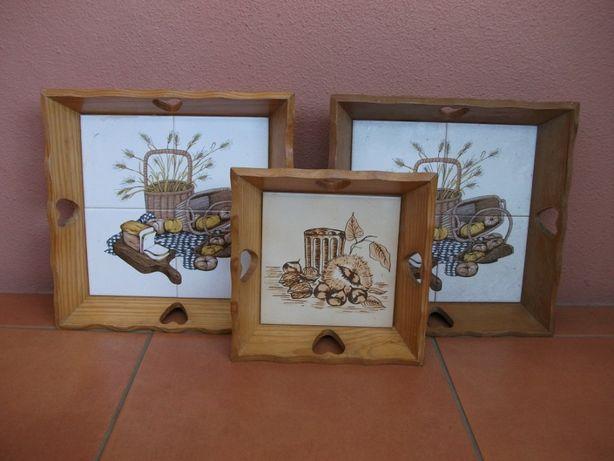 Tabuleiros de madeira com azulejo desde