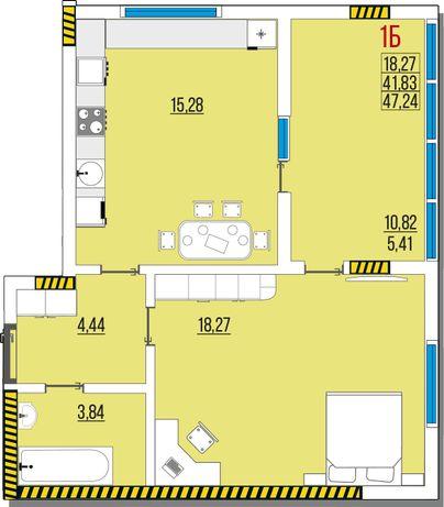 Ак. Глушко, Одесса, продам 1к квартиру 5 эт. 47,24 м. от застройщика.