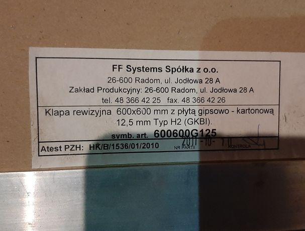 Klapa rewizyjna karton gips 600 x 600 mm, nowa, rewizja aluminiowa.