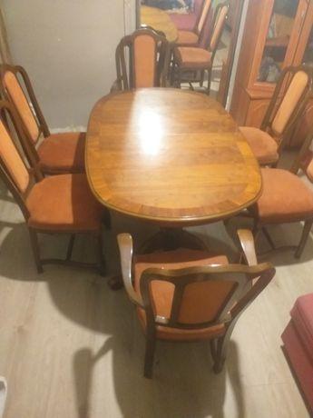 Stół masywny +6 krzeseł