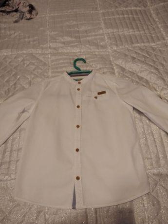 Ubranie galowe, koszule biała i granatowa oraz spodnie r. 122