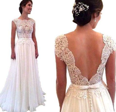 suknia ślubna sukienka linia-a koronka 34 XS 36 S 38 M 40 L 42 44 46