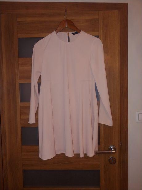 Sukienka rozkloszowana Zara komunia wesele elegancka pudrowy roż 36