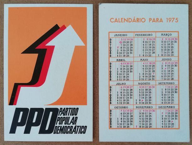 Calendário de bolso do PPD de 1975