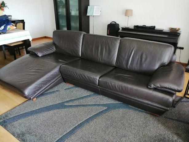 Sofá de pele castanho divani 3 lugares com chaise longue
