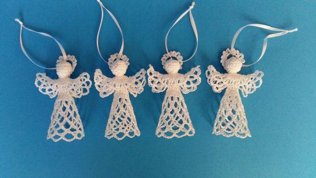 Aniołki na szydełku ozdoby szydełkowe świąteczne komunia ślub