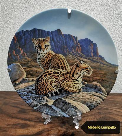 Zestaw kolekcjonerskich talerzy koty drapieżne dzikie sygnowane