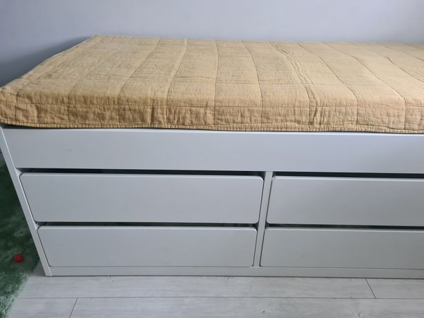 Łóżko młodzieżowe, biurko biel, zestaw