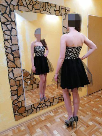 Sukienka czarna tiulowa tiul bez ramiączek rozkloszowana ala lou