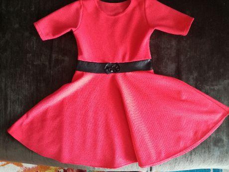 Sukienka czerwona ze skórzanym paskiem, święta, okazje, r.122-128