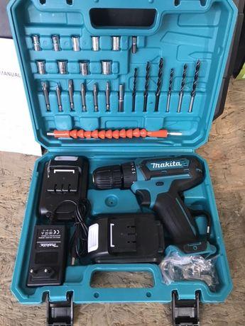 Шуруповерт ударный Makita 550 DWE (24V, 5.0AH) с набором инструментов.
