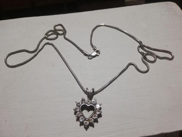 Łańcuszek naszyjnik srebro 925 z serduszkiem