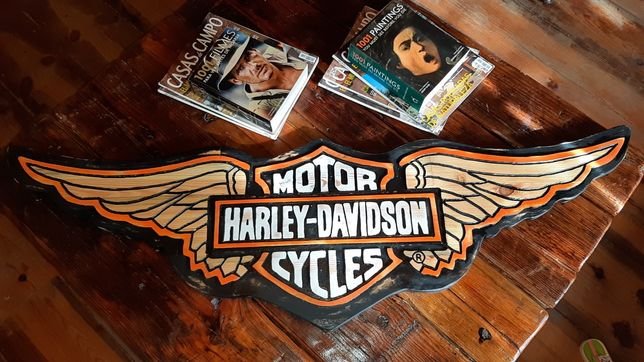 Quadro madeira pinho maciça vintage Harley Davidson 1,35mX40cm