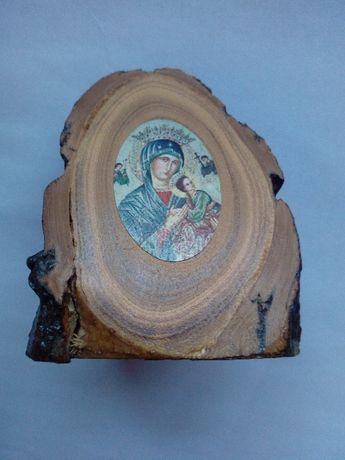 Święty obrazek Maryja na drewnie drewniana figurka