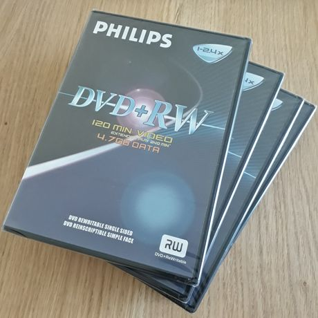Płyty DVD+RW philips 4.7gb 120min video 4szt