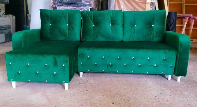 RATY GLAMOUR  narożnik rogówka kryształyi rozkładany kanapa sofa TANIO