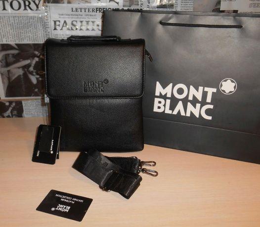 Czarny męska torba torebka Listonoszka MONT BLANC, skóra,Niemcy 130-3