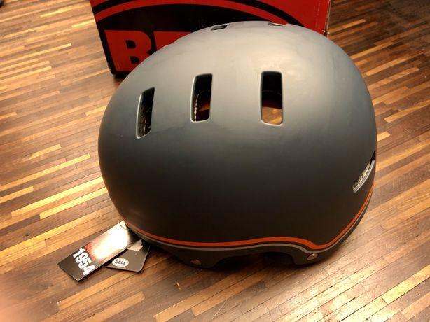 Kask rower BMX rolki BELL Local szary z pomaranczowymi dodatkami