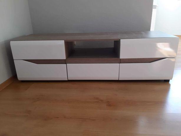 Szafka pod telewizor rtv biało-drewniana
