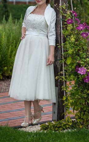 Romantyczna krótka suknia ślubna w kolorze ecru (36 rozm)