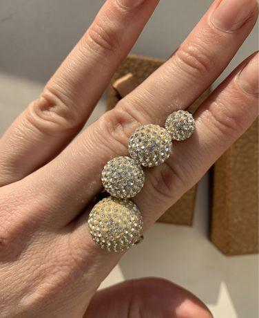 Svarovski сережки кольцо подвеска серебро 925 камни Сваровски