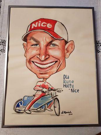 Rysunek karykatura Rune Holta w ramce unikat żużel speedway