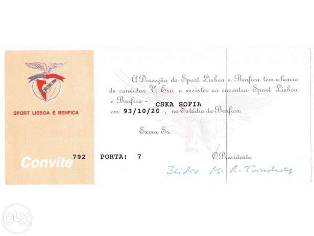 Bilhete futebol - benfica - cska sofia 1993 - convite