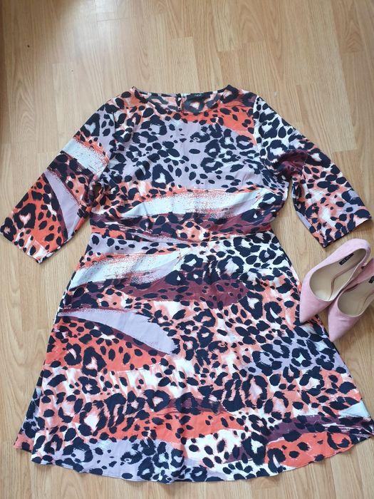 Jesień śliczna sukienka kolorowa panterka 46 Brzesko - image 1