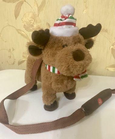 Інтерактивна музична новорічна(новогодняя)іграшка олень на поводку