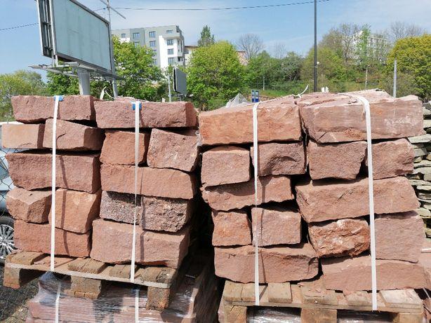 Kamień murowy - Piaskowiec Czerwony 20/20/40 - nowoczesne aranżacje