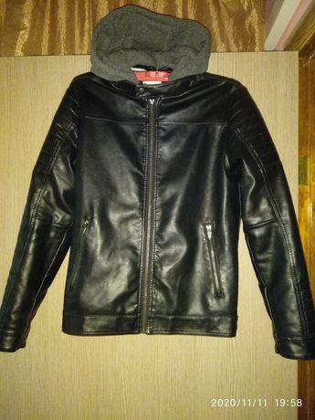 Теплая кожаная куртка размер 158