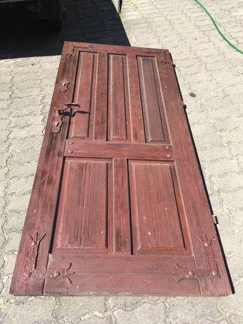 Drzwi wejsciowe sosnowe lite drewno